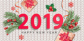 2019 New Year greeting card on knitted background.