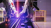 Smart automation industry robot in action welding metall - industry 4.0 concept
