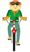 Cartoon animal on transport facility bicycle.Vector illustration