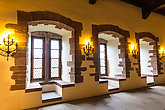 Windows with seating places in old castle, Europe