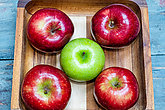 raw and natural green red apples